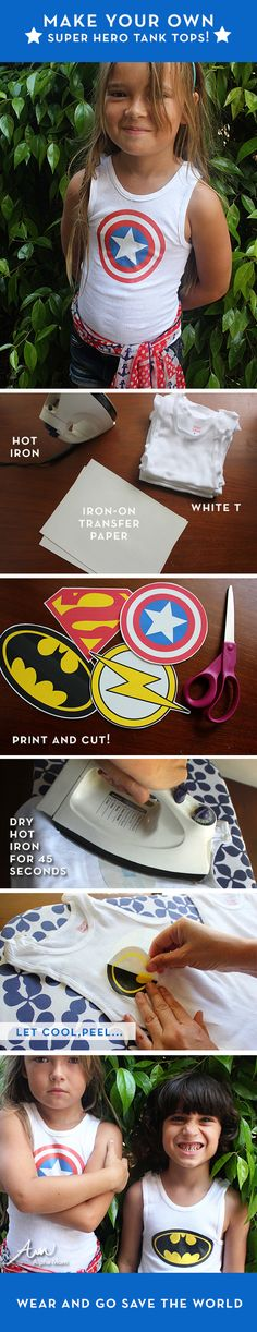 Easy #Superhero tank tops... Better not show the boys this! Eladio has this idea about how I can make a captain America suit for him sewing lol tanks tops for kids, superhero tank tops, tank craft