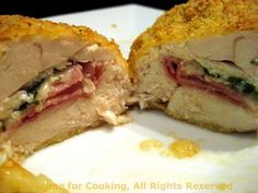 """French Kissing"" (LOL) Chicken Breasts stuffed with Ham, Spinach, and Cheese"