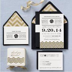 Gold Chevron Wedding Invitations
