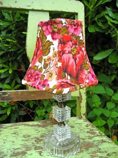 Bit of Joy Vintage Floral Lampshade.  Made from a piece of vintage barkcloth.    $65.00, via Etsy.