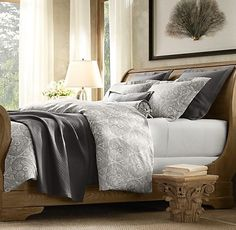 love this bed, the bedding and the sleigh bed.