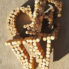 letters with wine corks