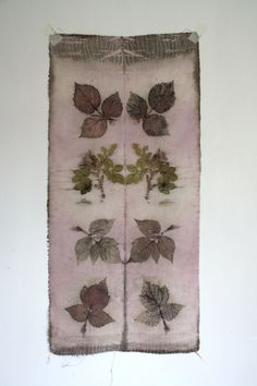 Naturally dyed silk fabric hand dyed and printed patchwork quilt fibre art  wall piece.