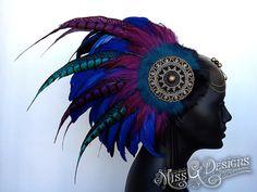 Black Blue & Purple Warrior Style Headdress by MissGDesignsShop, $385