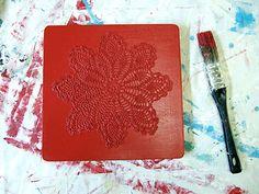 tile - paper doily - glue - paint