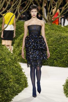 Gorgeous! ... Dior Haute Couture Spring-Summer 2013 – Look 37: Three layered embroidered black tulle bustier cocktail dress. Discover more on www.dior.com #Dior#PFW