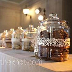 cookie jars with lace idea, wedding favors, cooki bar, candies, cookie table, dessert tabl, sweet tabl, cookie jars, bridal showers