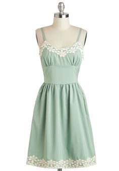 Appliques Now Accepted Dress - Mid-length, Mint, Tan / Cream, Crochet, Pockets, A-line, Spaghetti Straps, Solid, Trim, Daytime Party, Vintage Inspired, 50s, Pastel, Spring, Summer, Scoop