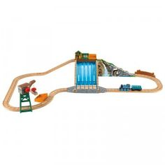 A new wooden train set that lets kids play along with Thomas as he makes a special delivery across a waterfall.