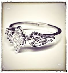 Marquise Diamond Triquetra Celtic Engagement Ring in 14K White Gold