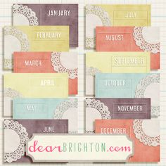 free project life Monthly printable 4x6 cards - from dear brighton
