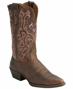 Justin Chocolate Puma Cowhide Stampede Cowgirl Boots - Snip Toe