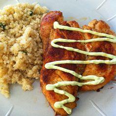 Bikini Baker: Blackened Chicken with Avocado Cream Sauce and Cilantro Lime Quinoa