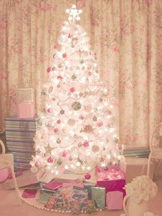 pink and aqua christmas tree with presents by Shabby Boutique, via Flickr by Moochiemomma