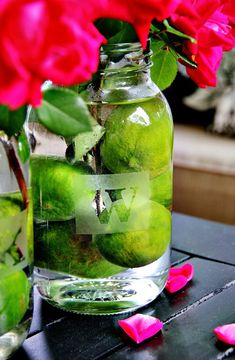 DIY Etched Monogram Mason Jars. Love the limes in the bottom of the bouquet!