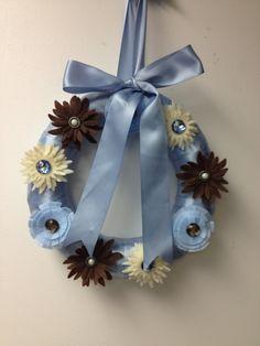 Wreath wreaths flower flowers buttons felt ribbon sizzix die cut