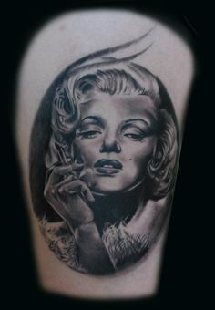 Marilyn Monroe Pin Up Tattoo - Joel Salter.I don't like portraits but this one is beautiful.