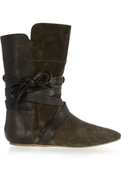 Isabel Marant | Nira suede and leather ankle boots