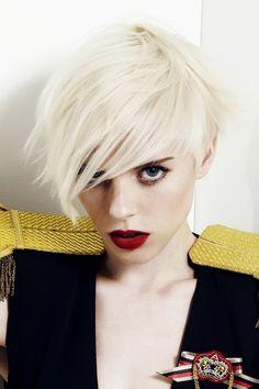 white hair, platinum blonde, short haircuts, pixie cuts, red lips, pixie hair, short bobs, blonde hairstyles, bang