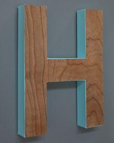 wood veneer monogram letter