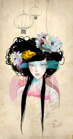Nenufar Girl Art Print by Ariana Perez! Love love love!!  It'd look great with my Native American themed stuff as well!