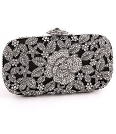 Austrian Crystal Minaudiere in Black or Silver