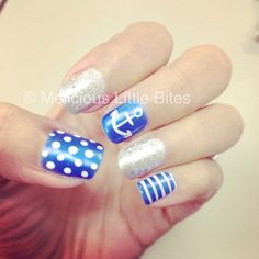 Obsessed with my nautical nails!!!! LOVE THEM #nails #nautical #gelnails