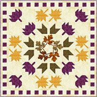 Leaf What May. Beautiful colors of fall. Three different leaf blocks are floating down in a stunning medallion setting with a center leaf wreath.   Use fusible machine applique or hand stitch down using your favorite method. http://www.kayewood.com/item/Leaf_What_May_by_Elisa_s_Backporch_Designs/1777 $9.00