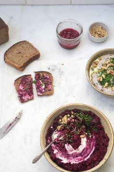 Beet Caviar If you have bourbon or vodka on hand, you can use one of those in place of the cognac.  4 medium beets, washed and trimmed 5 plump dates, pitted and chopped 2 tablespoons cognac (bourbon, or vodka) 4 garlic cloves, peeled and smashed 2 tablespoons lemon juice, plus more to taste 1/2 cup chopped toasted walnuts 3/4 teaspoon fine grain sea salt 3 tablespoons creme fraiche, plain yogurt, or sour cream  lots of freshly chopped chives