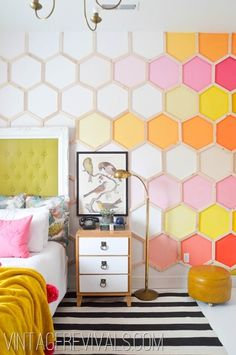 color, wall treatments, kid rooms, little girl rooms, room makeovers, hexagon, bedroom, accent walls, dream rooms
