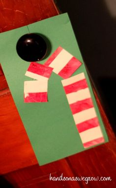 Tape Resist Candy Cane Painting on hands on : as we grow