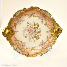 Antique French Hand Painted Limoges Pink Rose Gilt Rococo Cabinet Plate. #FrenchGardenHouse. #Antique #Limoges
