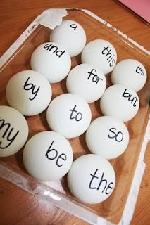 "Use ping pong balls to teach your active learner sight words.  ""Throw 'for' to me.  Throw 'so' to me.""  Could float in water and fish out with net as well--> like the net idea"