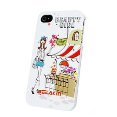Apple iPhone 4 / 4S Hard Sided Beauty Girl Cartoon Pattern Case with IML Technology