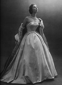 Model Myrtle Crawford, L`Officiel 1953, Ball gown by Hubert de Givenchy // by dovima_is_devine_II, via Flickr