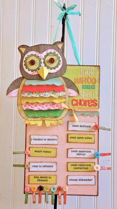 chore boards, craft, studios, kids chore charts, bunk beds, chore list, kid chores, buttons, owls