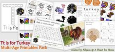 Free Printables: Tt is for Turkey Multi-Age Pack from Developing a Heart for Home