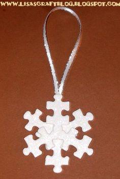 DIY puzzle piece snowflake ornament