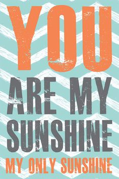 Boy Nursery Print, You are my Sunshine, turquoise blue, grey, orange Nursery Home Decor, Nursery Art, 10x15 art print by Jennifer McCully. $39.00, via Etsy.