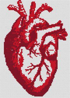 Cross Stitch Pattern - Heart Beat - Modern Cross Stitch PDF Chart. $5.00, via Etsy.
