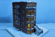 This gingerbread apartment epitomizes that old brick look set at dusk.