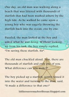 starfish quote making a difference - Google Search
