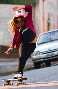 skater girl Longboard cross over