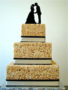 Rice Krispies Wedding Cake with custom cake topper from Simply Silhouettes.