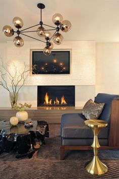 lights, modern fireplaces, interior, coffee tables, living rooms