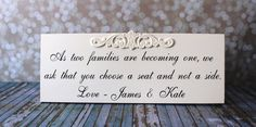 Wedding Sign.  Bridal Sign.  As our families by OurHobbyToYourHome