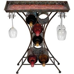Tray topped wine rack table with glassware storage.