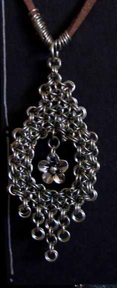 Japanese 6-1 Chain Maille pendant with flower charm