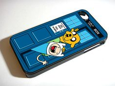 Adventure Time Jake Finn In Dr  Who Tardis Call Box - iPhone 4 / iPhone 4S / iPhone 5 Case Cover 451K on Etsy, $14.99