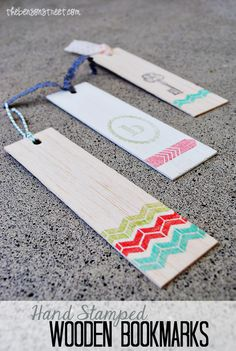 Hand Stamped Wooden Bookmarks perfect for summer. A great camping craft to keep the kids busy!
